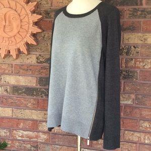 Michael Kors Side Zip Gray Long Sleeve Sweater L